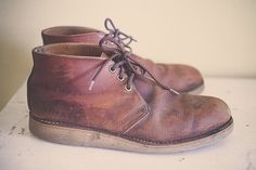 Red Wing Shoes Classic Chukkas Boots Brown Leather  Distressed  Boots Men's  Redwing Size 11.5 Men's by 7CitiesVintage on Etsy