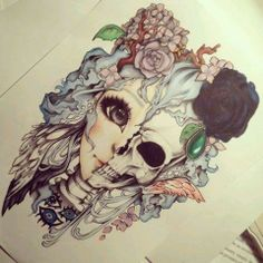 Drawing #girl #skull #flowers