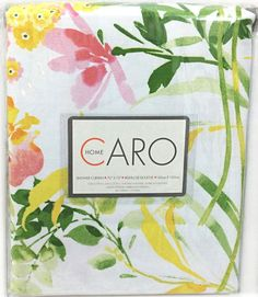 Caro Botanical Nature Cotton Shower Curtain Floral Branches Yellow Pink Green #CaroHome #Contemporary