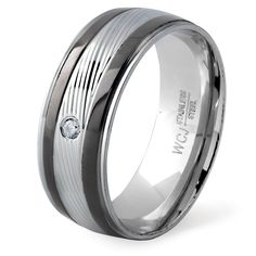 West Coast Jewelry Men's Two-Tone Stainless Steel Cubic Zirconia Grooved Ring (Rose and White - Size 13)