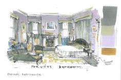 Do you recognise this room? This is an art department sketch of Phryne's bedroom. #MissFisher #PhryneFisher #sketch #drawing #behindthescenes