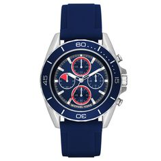 Bright blue accents add a pop of color to Michael Kors' performance-ready timepiece, sporting four chronograph sub-dials and a silicone strap. Michael Kors Men, Michael Kors Watch, Oversized Watches, Bulova, Blue Accents, Stainless Steel Case, Daniel Wellington, Watches For Men, Wrist Watches