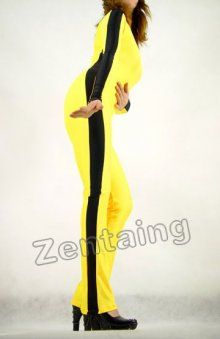 Black Yellow Lycra Spandex Catsuit