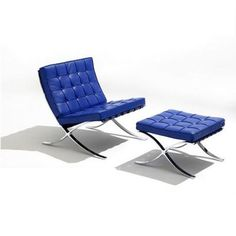 Barcelona Chair by Ludwig Mies van der Rohe produced by Knoll #homedecor #decoration #home #blue #design #chair