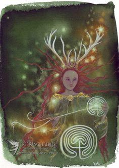Path Weaver/Elen of the Ways/Print/Goddess Art/Sarn Elen/Reindeer Goddess/Spiritual/Healing art/Nature/Forest/Woodland/Art Print