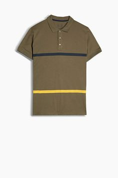 Size information:  -In size M (can vary according to size): centre back length approx. 73 cm  Details:  -An all-time fashion classic - the polo shirt! The simple design and premium, soft cotton piqué fabric make this polo shirt an on-trend must-have. -The printed stripes in striking colours are extremely eye-catching. -The collar and sleeve welts are finished in thick ribbed fabric. -The placket fastens with three buttons. -The slit hem is slightly longer at the back and trimmed with…