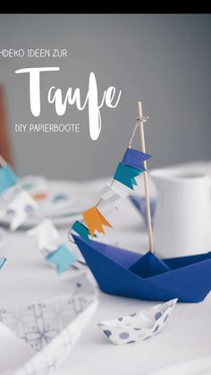 DIY table decoration for baptism with boats - folding paper boats - origami with boats, DIY video table decoration for christening - origami boats fold step by step. Folding christening decorations with paper boats is easy and inexpensive. Diy Party Decorations, Halloween Party Decor, Happy Birthday Cards, Birthday Greeting Cards, Paper Boat Origami, Origami Boot, Christening Decorations, Fleurs Diy, Diy Papier