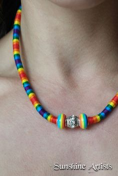 Rainbow extra chunky wrapped necklace - Tibetan silver jeweled bead -  Rainbow resin beads - bright DMC embroidery thread - Adjustable by SunshineArtists on Etsy