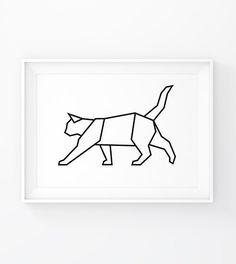 Geometric Cat Origami Cat Cat Wall Decal Cat Prints by MgdDesign