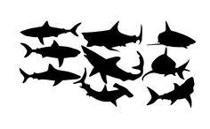 Sharks Vinyl Wall Decal Set of Nine Sharks 22304 - Cuttin' Up Custom Die Cuts - 2