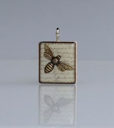 Bee gold: Wooden Scrabble tile pendant by ScrabbleChick on Etsy