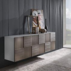 Modern Cupboard - doors and drawers with perimetrical structure - Dinning Room Buffet, Dining Room Design, Living Room Modern, Living Room Decor, Luxury Furniture, Furniture Design, Crockery Cabinet, Sideboard Decor, Modern Buffet