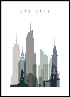 New York Skyline Affiche dans le groupe Affiches / Formats / 50x70cm chez Desenio AB (2351)