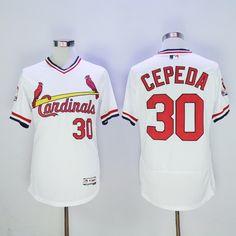 St. Louis Cardinals #30 Orlando Cepeda Retired White Pullover 2016 Flexbase Majestic Baseball Jersey