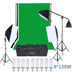 Andoer Studio Video Lighting Kit includ 9Pcs135W Light Bulb + 3 Backdrop (Black/White/Green) with 2M Backdrop Stand+ Softbox with 4in1 bulbs socket +1.4M Cantilever Stick for Portraits/Product Photo