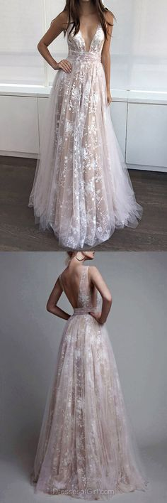 Elegant A-line V-neck Tulle Floor-length with Appliques Lace Prom Dress