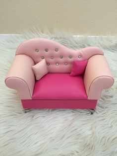 Pink Faux Leather Sofa Jewelry Box for Barbie Doll s House Dollhouse Furniture