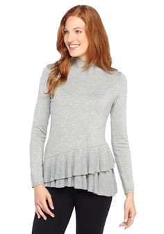 Tiered ruffles achieved by asymmetric design add a touch of volume to this meticulously soft mock neck sweater. Styled with feminine sensibility and made sumptuous by a rich blend of the best fabrics, this light-hearted pullover poses as a prominent piece.