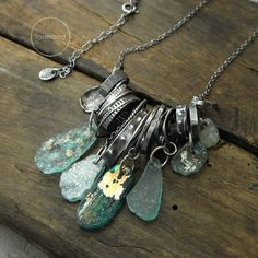 Necklace - raw sterling silver and ancient glass Leaf Jewelry, Gypsy Jewelry, Stone Jewelry, Jewelry Crafts, Charm Jewelry, Cool Necklaces, Handmade Necklaces, Handmade Sterling Silver, Sterling Silver Jewelry
