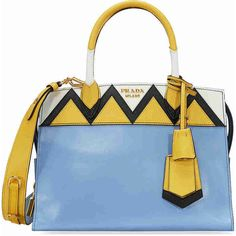 Prada Medium Esplanade Leather Tote Bag - Astral Blue Sunny Yellow ($2,295) ❤ liked on Polyvore featuring bags, handbags, tote bags, prada handbags, handbags totes, leather handbag tote, leather handbags and blue leather purse