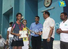 Runner-ups, Kritika Bhatt and Bhavya Mittal receiving award for winning Girls Doubles U13 YoGems Badminton Championship series,Noida