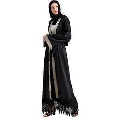 Babalet Womens  Elegant Arab Long Sleeve Full Length Black Abaya Dress with  Belt 60845e21afe2