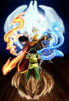 Aang, Katara, Toph, and Zuko bending.