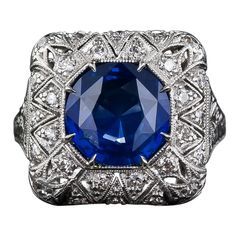 Sapphire and Diamond FIligree Ring | From a unique collection of vintage cocktail rings at http://www.1stdibs.com/jewelry/rings/cocktail-rings/