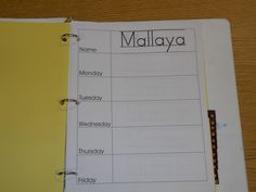 Daily sign in binder: there's one page per student per week, ABC tabs help students find their names