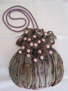 Mary Frances Beaded Purple Green Vintage-style Hand Shoulder Evening Bag Purse