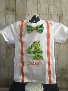 Birthday Ninja Turtle Shirt with by IrresistiblEmbroider on Etsy