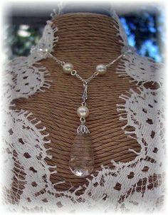 New w/Swarovski Cream Pearl/Clear Crystal Pendant Teardrop Necklace #Pendant