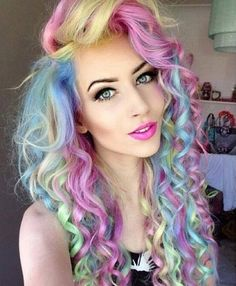 Pastel rainbow hair!! I'm getting this done tomorrow!! Love how it looks so don't judge me!