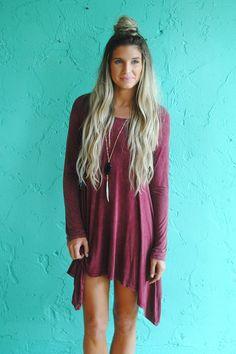 womens burgundy long sleeve piko tunic