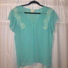 Buckle Daytrip top Size Small. Teal sheer top with detailed lace around arms accentuated by pleated shoulders. Worn once. Like new. EUC Daytrip Tops Blouses