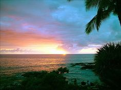 "Beautiful sunset at Hale Pohaku (""House of Stone""), our oceanfront vacation rental condo on the sunny Kona Coast, Big Island."