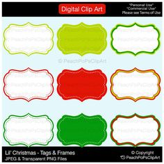 Buy 2 Get 1 Free SALE - clipart tag label frames - Lil Christmas Tags and Frames - Digital Clip Art