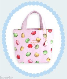 New LADUREE Tote Bag with A Charm Macarons Pink Authentic 100 RARE | eBay