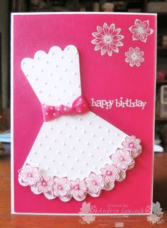 Handmade Female Birthday Card ... Party Dress ... Stampin' Up! - Punch Potpourri, Party This Way ... EnchantINK