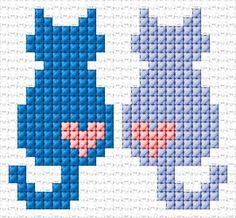 Love Free cross-stitch design 'Love', 27 x 25 stitches 3 colors Tiny Cross Stitch, Cat Cross Stitches, Cross Stitch Bookmarks, Cross Stitch Cards, Cross Stitch Animals, Cross Stitch Designs, Cross Stitching, Cross Stitch Embroidery, Cross Stitch Patterns