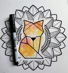 But maybe with a husky / wolf instead of a fox The crochet stitches most b … Cool Art Drawings, Doodle Drawings, Art Drawings Sketches, Doodle Art, Easy Drawings, Zen Doodle, Mandala Artwork, Mandala Drawing, Mandala Design