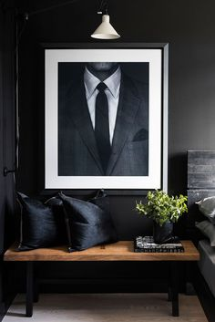 In love with the black silk pillows and oversize suit and tie artwork in this ma. Nadine Bernstein RiMembA Moodboard In love with the black silk pillows and oversize suit and tie artwork in this masculine bedroom fit for a bachelor