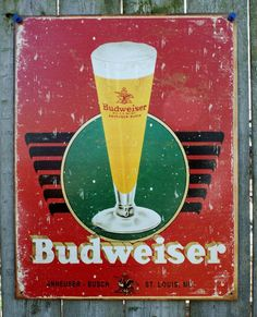Pin Budweiser Anheuser Busch Tin Metal retro Sign Man Cave Garage Bar Beer Alcohol Bud Lite light 15A