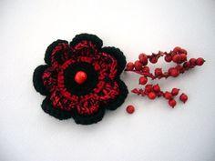 Crochet flower applique brooch   http://www.etsy.com/shop/CraftsbySigita?ref=si_shop