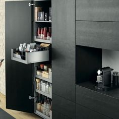 Storage cupboard 2 Space Tower by Blum - That& how convenient your new storage cupboard can be Cupboard Storage, Locker Storage, Cuisines Design, Black Kitchens, Kitchen Black, Kitchen Cupboards, Storage Spaces, Kitchen Decor, Design Kitchen