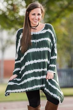 Ripple and Wave Tunic, Olive