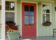 Image Result For Seafoam Green House Red Door Painted Front Doors Cottage Front Doors Exterior Door Colors