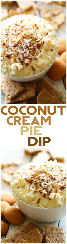 This Coconut Cream Pie Dip is seriously INCREDIBLE! The most delicious coconut cream pie transformed into one unforgettable appetizer! You will not be able to stop eating this stuff it is so addictive and absolutely DIVINE! (most delicious cookies) Coconut Recipes, Dip Recipes, Cooking Recipes, Budget Cooking, Vegan Recipes, Recipies, Cheap Recipes, Just Desserts, Delicious Desserts