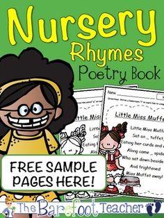 FREEBIE Nursery Rhymes Poetry Book Pages