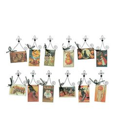 Take a look at this Halloween Postcard Ornament Set by Primitives by Kathy on #zulily today! $22 !!